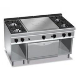 Cocina coup de feu con 4 fuegos y horno Berto's Maxima 900