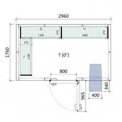 Cámara conservación 2960 x 1760 x 2280 mm