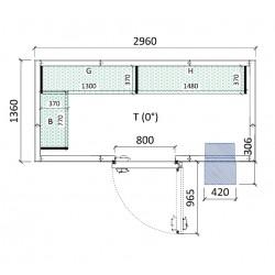 Cámara conservación 2960 x 1360 x 2280 mm