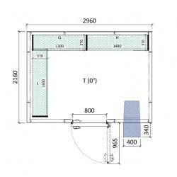 Cámara conservación 2960 x 2160 x 2280 mm