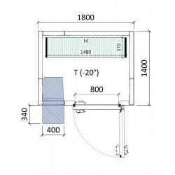 Cámara congelación 1800 x 1400 x 2320 mm