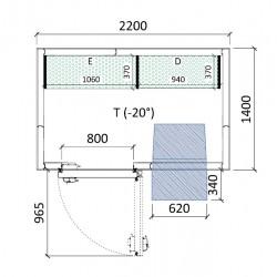 Cámara congelación 2200 x 1400 x 2320 mm