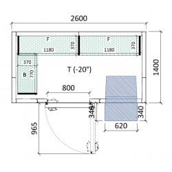 Cámara congelación 2600 x 1400 x 2320 mm
