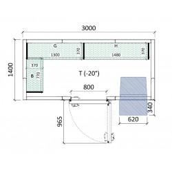 Cámara congelación 3000 x 1400 x 2320 mm