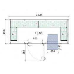 Cámara congelación 3400 x 1400 x 2320 mm