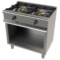Cocina con soporte a gas 2 fuegos - fondo 55