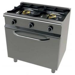 Cocina a gas 2 fuegos con horno - fondo 55