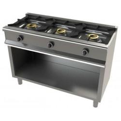 Cocina con soporte a gas 3 fuegos - fondo 55