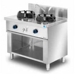 Cocina wok de pie 2 quemadores MOB/02-2C-WL