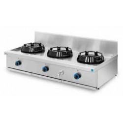 Cocina wok sobremesa, encimera con agua 3 quemadores PAV/03-3C-WA