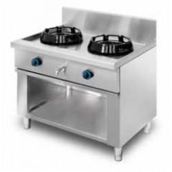 Cocina wok de pie, encimera con agua 2 quemadores MOB/02-2C-WA
