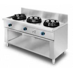 Cocina wok de pie, encimera con agua 3 quemadores MOB/03-3C-WA