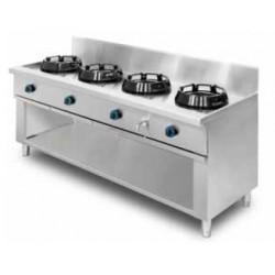 Cocina wok de pie, encimera con agua 4 quemadores MOB/04-4C-WA
