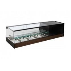 Vitrina expositora de tapas refrigerada con cubetas - cristal recto y estante inermedio