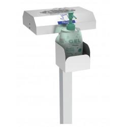 Columna soporte para gel hidroalcohólico y dispensador de guantes