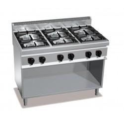 Cocina a gas 6 fuegos con soporte - Berto's Macros 700