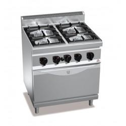 Cocina a gas 4 fuegos con horno a gas GN 1/1 - Berto's Macros 700