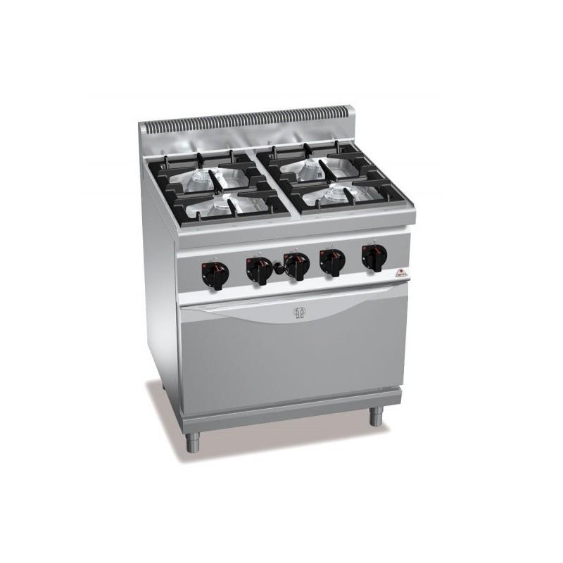 Cocina a gas 4 fuegos con horno a gas GN 2/1 - Berto's Macros 700