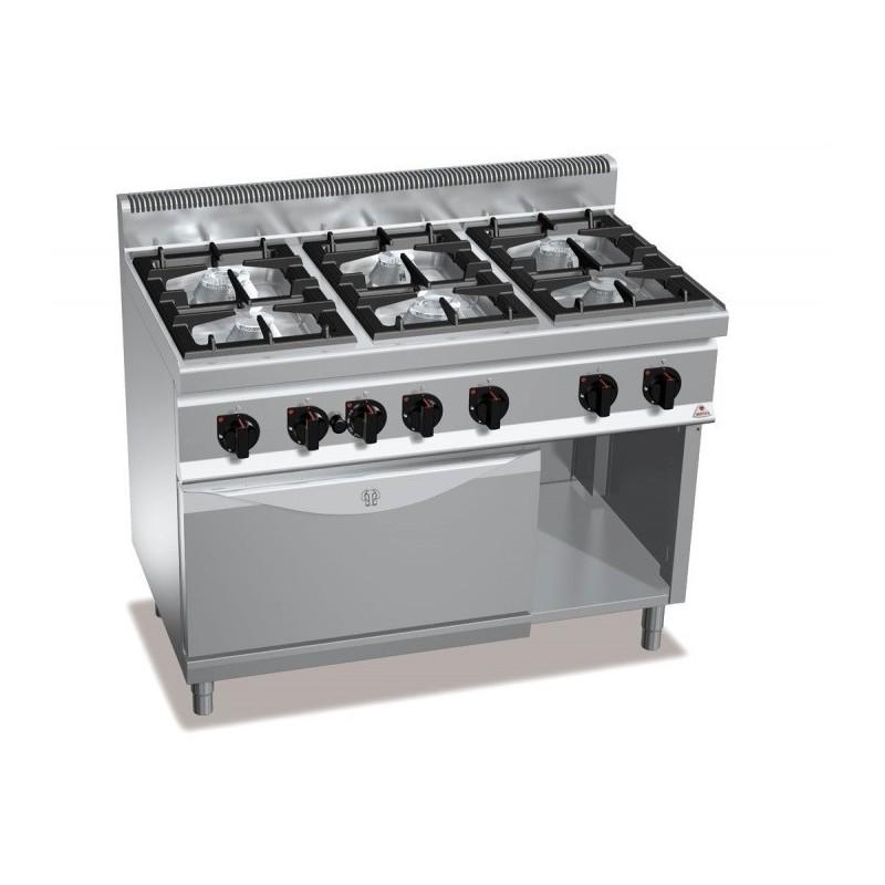 Cocina a gas 6 fuegos con horno a gas GN 1/1 - Berto's Macros 700
