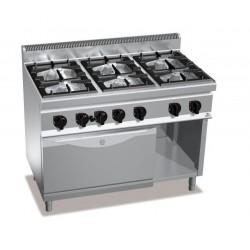 Cocina a gas 6 fuegos con horno a gas GN 2/1 - Berto's Macros 700
