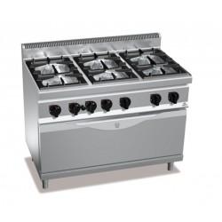 Cocina a gas 6 fuegos con horno maxi a gas - Berto's Macros 700