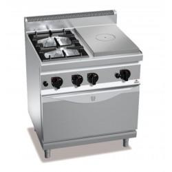 Cocina a gas 2 fuegos + coup de feu con horno a gas GN 1/1 - Berto's Macros 700