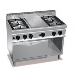 Cocina a gas 4 fuegos + coup de feu con horno a gas GN 1/1 - Berto's Macros 700