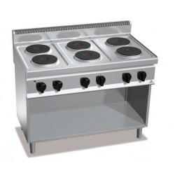 Cocina eléctrica 6 fuegos con soporte - Berto's Macros 700
