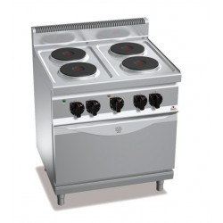 Cocina eléctrica 4 fuegos con horno GN 1/1 - Berto's Macros 700