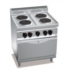 Cocina eléctrica 4 fuegos con horno GN 2/1 - Berto's Macros 700