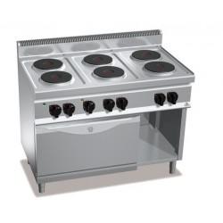 Cocina eléctrica 6 fuegos con horno GN 1/1 - Berto's Macros 700