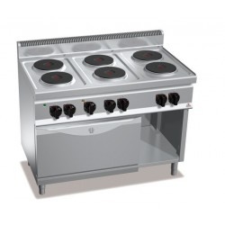 Cocina eléctrica 6 fuegos con horno GN 2/1 - Berto's Macros 700