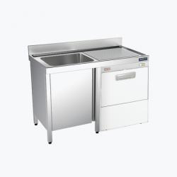 Fregadero 1 cuba con espacio para lavavajillas con puertas - fondo 60