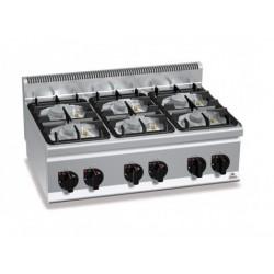 Cocina a gas 6 fuegos sobremesa - Berto's Plus 600 Power