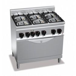 Cocina a gas 6 fuegos con horno - Berto's Plus 600 Power