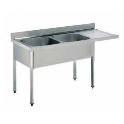 Fregadero 2 cubas con espacio para lavavajillas - fondo 60