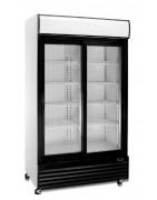 Expositor vertical mixto, de temperatura positiva y negativa, conservación y congelación, con puertas de cristal